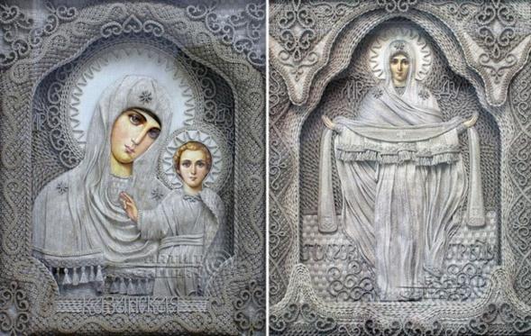 Inauguration en Crimée d'une exposition d'icônes en fil de lin