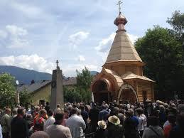 A Lienz, Autriche, commémoration du 70e anniversaire de la tragédie des cosaques trahis et livrés aux autorités soviétiques