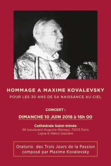 10 juin 2018 - Hommage à Maxime Kovalevsky