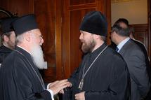 Mgr Hilarion s'est entretenu avec le patriarche de Constantinople