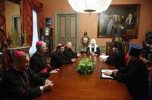 Le patriarche Cyrille a reçu le cardinal Jean-Pierre Ricard et deux évêques français