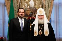 Le premier ministre libanais Saad Hariri reçu par le patriarche Cyrille