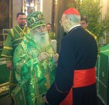 Visite du cardinal Roger Etchegaray à Saint-Pétersbourg