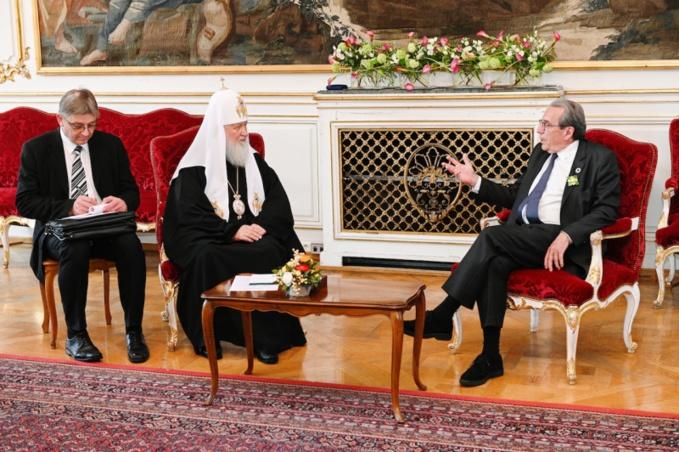 Rencontre du patriarche Cyrille avec le maire de Strasbourg Roland Ries
