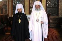Rencontre du métropolite Hilarion de Volokolamsk et du patriarche Daniel de Roumanie