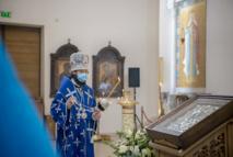 Monseigneur Antoine a célébré les Matines avec la lecture de l'Acathiste à la Mère de Dieu en la cathédrale de la Sainte Trinité