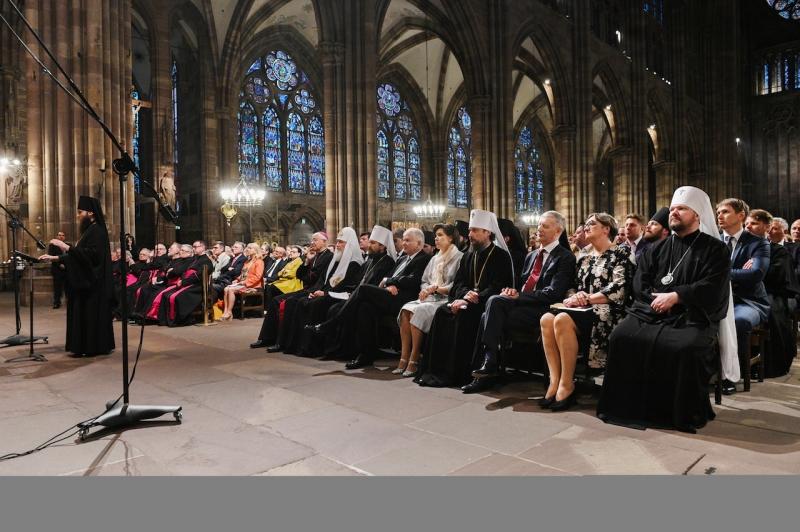 Le chef de l'Église Orthodoxe Russe a assisté au concert de la chorale de l'Académie de théologie de Kiev à la cathédrale de Strasbourg