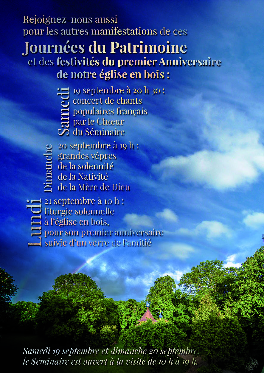 Programme des Journées du patrimoine et des festivités du premier anniversaire de l'église en bois du Séminaire