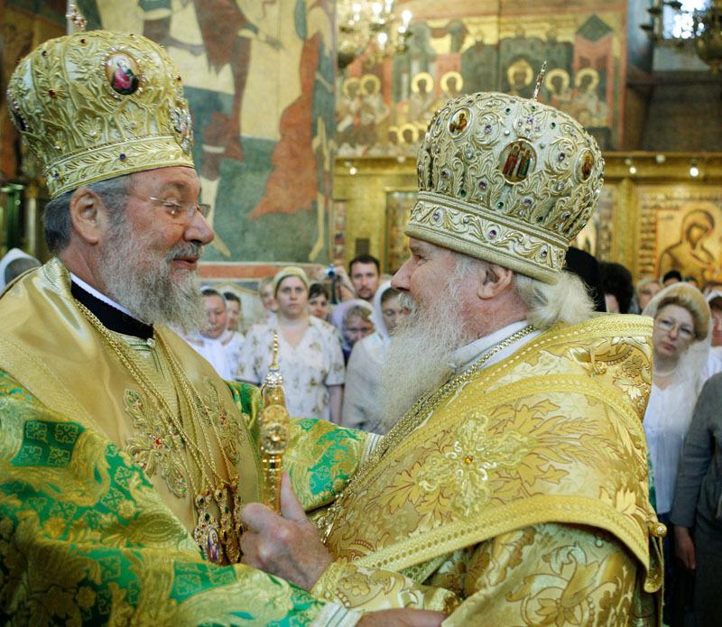 Le patriarche de Moscou et l'archevêque de Chypre célèbrent une liturgie commune à Moscou