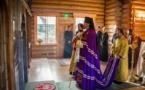 L'évêque Nestor a présidé la célébration de la divine liturgie dans l'église en bois du Séminaire à Épinay-sous-Sénart